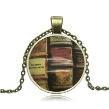 LIBRARY OF BOOKS CABOCHON NECKLACE   > C/S & H AVAILABLE <   (2523)  - $2.50