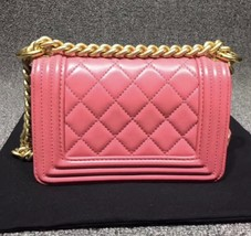 Auth Chanel Quilted Lambskin Pink Mini Boy Flap Bag Gold Hardware RARE  image 3
