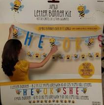 """2 Gender Reveal Honey Bee """"He Or She"""" Jumbo Letter Banners - 8' & 6' New In Pkg - $9.74"""