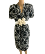 Vintage 1980s Stanley Platos Womens Dress Black White Party Cocktail Sil... - $135.58