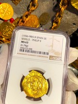SPAIN 2 ESCUDOS 1556-98 NGC 63 PIRATE GOLD COINS SHIPWRECK TREASURE ATOC... - $3,950.00