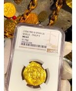 SPAIN 2 ESCUDOS 1556-98 NGC 63 PIRATE GOLD COINS SHIPWRECK TREASURE ATOC... - $3,950.00
