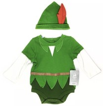 DISNEY Store Exclusiv PETER PAN Baby Bodysuit Infant 0 3 6 Month COSTUME... - $29.95