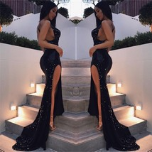 Sexy Mermaid Evening Dresses Formal Satin Black Sequined Party Prom Brid... - $74.51