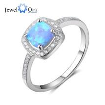 Women Sterling Silver Ring Square Blue Opal Stone Ocean Style Elegant Gi... - $20.22