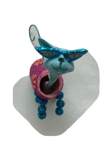Primary image for Katherine's Collection Aqua Cat Pink Wobble Head Christmas tree Ornament