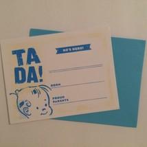 Retro Style Boy Birth Announcements TA DA! He's Here! Blue & White Set o... - $5.00
