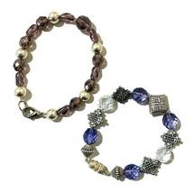Boho Hippie Teen Bracelet Purple Silver Tone Plastic Metal Small Beads L... - $11.30