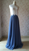 Two Piece Bridesmaid Dress Dusty Blue Tulle Maxi Skirt Crop Lace Top image 3