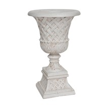 Floor Planter Pot 26.5 inches Aged White Weather Resistant Entryway Home... - €91,85 EUR