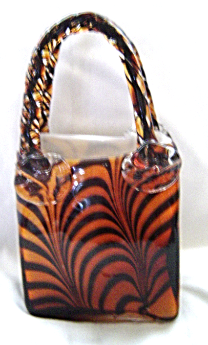 Murano Tiger Striped Art Glass Vase Handbag And 14 Similar Items