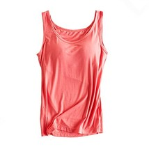 Womens Modal Built-in Bra Padded Camisole Yoga Tanks Tops Rose XL - $19.56