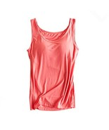 Womens Modal Built-in Bra Padded Camisole Yoga Tanks Tops Rose XL - $18.61