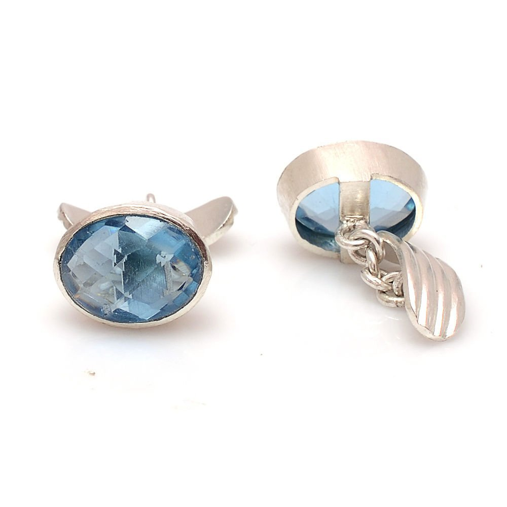 925 Sterling Silver Natural Blue Topaz Gemstone Artistic Handmade Men's Cufflink