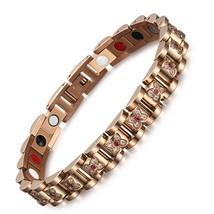 Magnetic Health Bracelet Bangle for Women Flower Zircon Charm Chain Link Hologra - $81.81