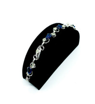 Vintage Molded Blue Glass Acorn Diamond Rhinestone silver Tone Link Bracelet 6.5 - $110.69
