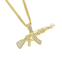 Hot Hip Hop CUBAN LINK Chain 14k Gold Plated CZ CRYSTAL Fully Iced-Out ... - £27.11 GBP