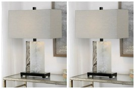 "TWO VANDA MODERN 26"" STONE SLAB ACCENT TABLE LAMP BLACK NICKEL METAL UTT... - $594.00"