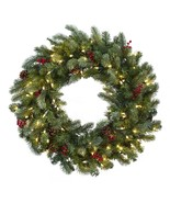 "30"" Lighted Pine Christmas Wreath W/Berries & Pine Cones - $77.86"