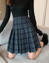 Navy Blue Plaid Skirt Knee Length Pleated Plaid Skirt Plus Size Plaid Midi Skirt image 6
