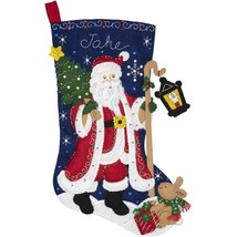 Bucilla Santa with Lantern Bunny Holiday Christmas Eve Felt Stocking Kit... - $48.95