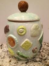 Vintage Cookies All Over Look Blue Ceramic Cookie Jar - $24.18