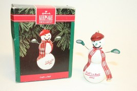 Hallmark Keepsake 1992 Ornament Golf's a Ball Snowman With Box #05984 - $6.92