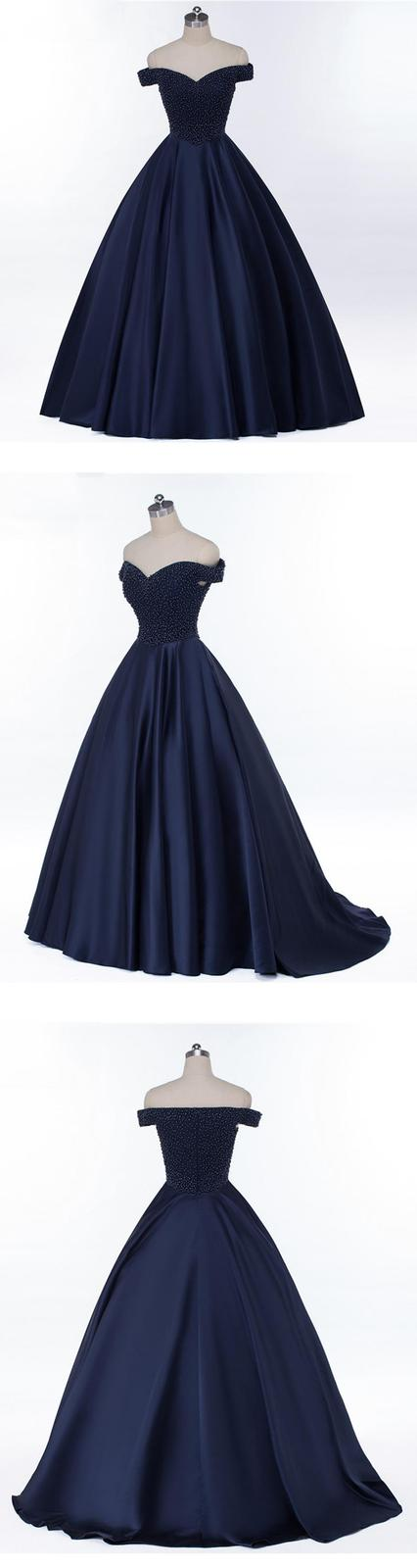 Fashion Navy Blue Beaded A Line Long Prom Dresses Sweet Quinceanera Dress Junior