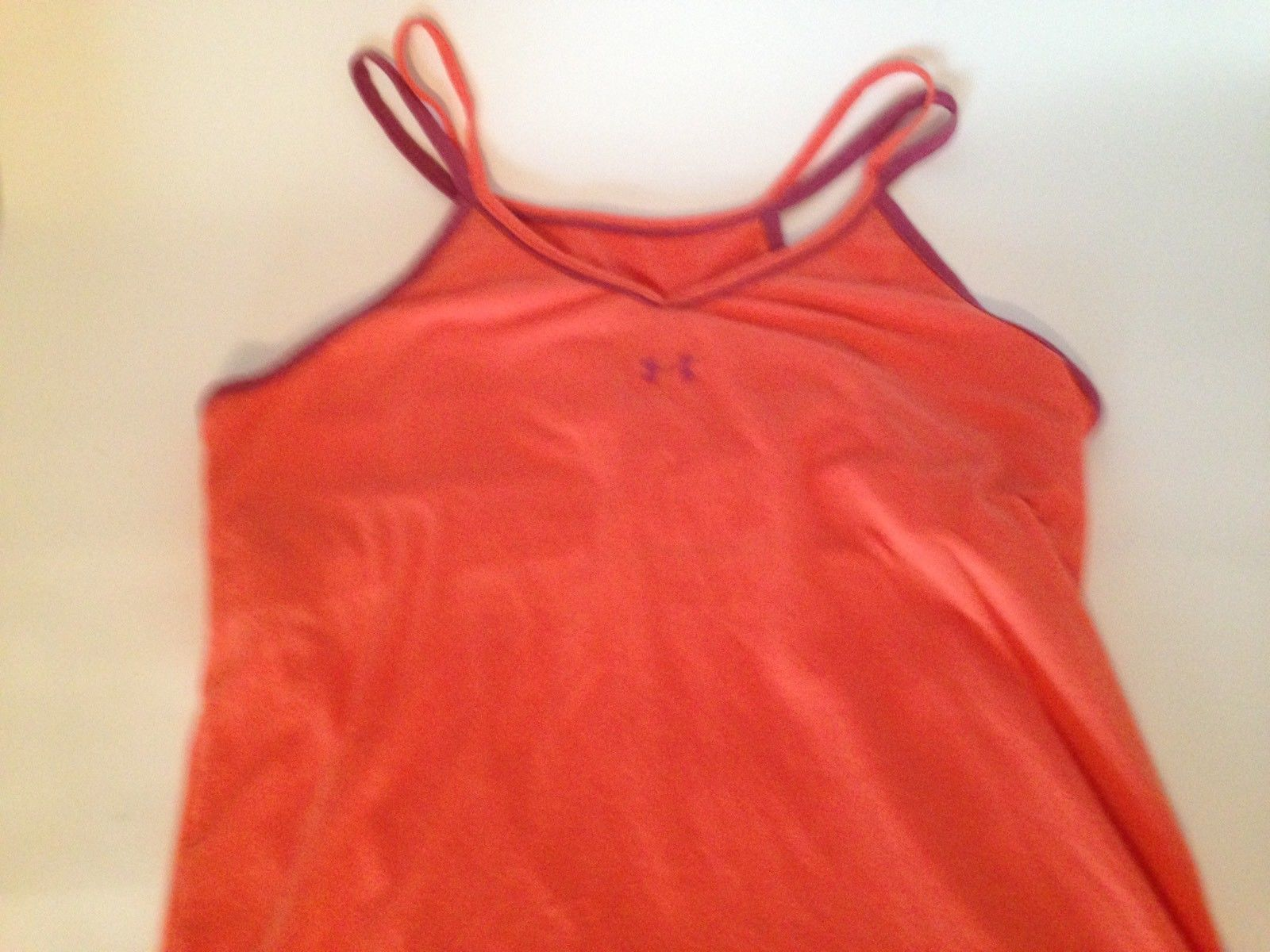 Under Armour Soft Orange and Purple Racer Back Exercise Top with Shelf Bra M