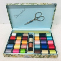 Vintage Belding Corticelli Sewing Thread Box w/ Scissors Floral Travel B... - $24.26