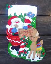 NEW  Bucilla FINISHED North Pole Santa Christmas Stocking Kit #85177 Circa 2004  - $149.99