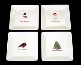 "4 Sue Zulauf Christmas Cut-Outs Script 7-1/4"" Square Embossed Salad Plates NWOT - $28.99"