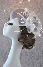 Hand Made Fashional Pure White Feather Netting Bridal Veil Comb