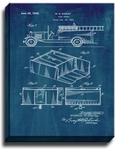 Fire Truck Patent Print Midnight Blue on Canvas - $39.95+