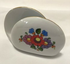 Kalocsa Hand Painted Porcelain Napkin Holder  laced Gold Trim Made In Hu... - $5.89