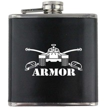 Armor Branch Insignia Army Veteran Armored Groomsman Gift Leather Wrapped Flask - $19.79
