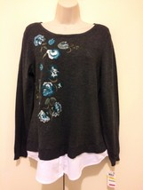 Charter Club Top Ladies Sz Medium Gray Floral Embroidery Long Sleeve Scoop Neck - $18.37