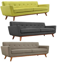 """Mid Century Classic Fabric Sofa 90"""" Wide In Green, Charcoal Gray, Granit... - $979.95"""