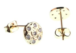 Kevia 18K Gold Plated Cubic Zirconia Crystal Round Button Post Stud Earrings NWT image 2