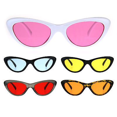 Womens Pop Color Lens Goth Narrow Cat Eye Plastic Sunglasses