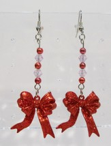 handmade Christmas bow beaded drop earrings - $9.00