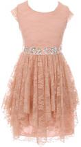 Flower Girl Dress Floral Lace Ruffle Layers Skirt Blush JKS 2095 - $29.69+