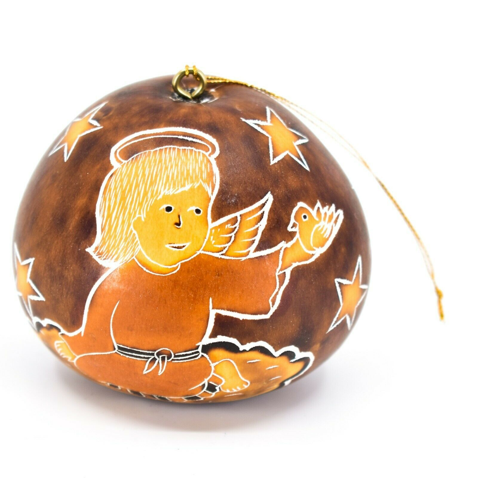 Handcrafted Carved Gourd Christmas Religious Angel Holiday Ornament Made Peru