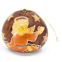 Handcrafted Carved Gourd Christmas Religious Angel Holiday Ornament Made Peru image 1