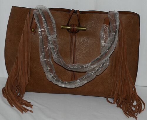 Simply Noelle Brand HB210 Harvest Color Womens Fringed Toggle Loop Closure Purse
