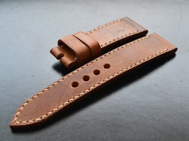Handmade Swiss Ammo Leather Watch Strap 24mm military vintage retro - $128.70