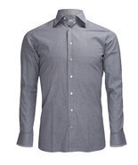 Zilli Men's Grey Patterned Cotton Dress Shirt Regular fit, size 40(15.75) - $470.00