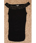 CHARLOTTE RUSSE BLACK OFF SHOULDER FITTED RUCHED TOP LEATHER CLEOPATRA N... - $9.99