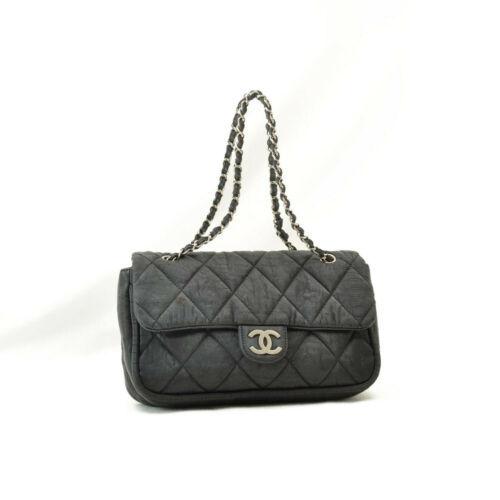CHANEL Nylon Matelasse Chain Shoulder Bag Black Auth 9576 **Powder
