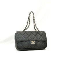 CHANEL Nylon Matelasse Chain Shoulder Bag Black Auth 9576 **Powder - $720.00